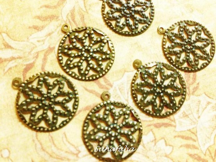 6 Antiqued Bronze Medallion Filigree Findings - #F-17