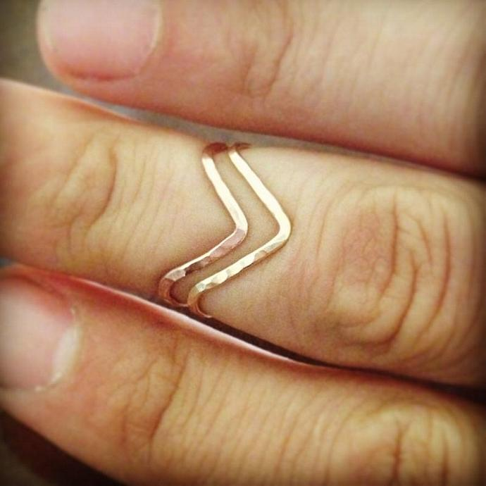 Chevron Stackable Rings in 14K Gold filled, rose gold filled, and Sterling
