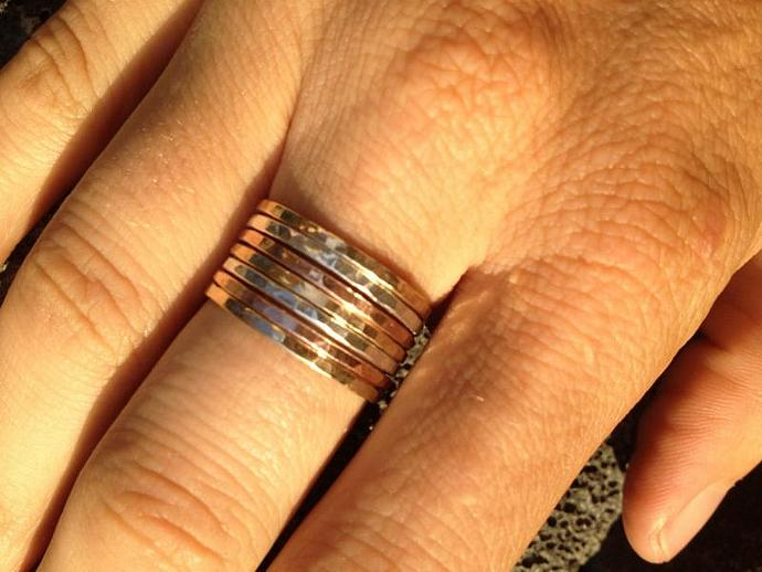 14K Solid Gold and Rose Gold w/ 925 Sterling Silver Stackable Rings