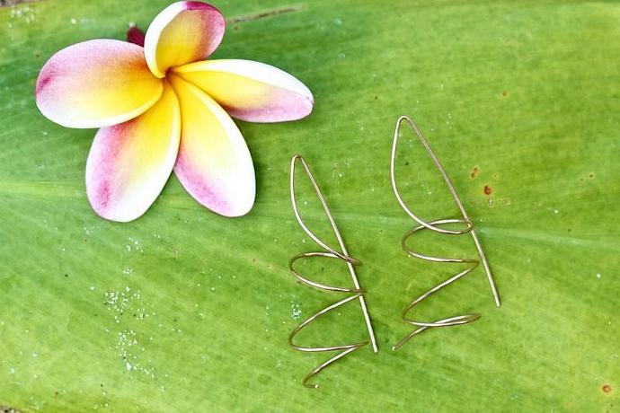 Twisty Twirly Simple Earrings--Gold Filled, Rose Gold Filled, Or Sterling Silver