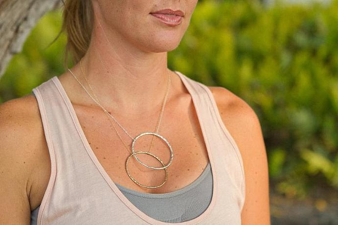 Sun & Moon Circle Necklace of 14g Gold filled or Sterling Silver Textured Metal