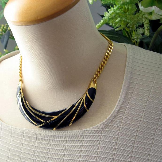 Vintage Monet Black Gold Architectural Grid Bib Collar Statement Necklace