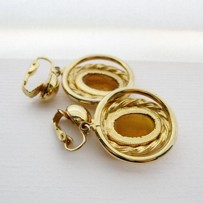 Large Golden Topaz Glass Cameo Dangle Clip-on Earrings