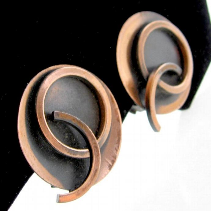 Modernist 1950s Round Copper Clip Earrings - Collector