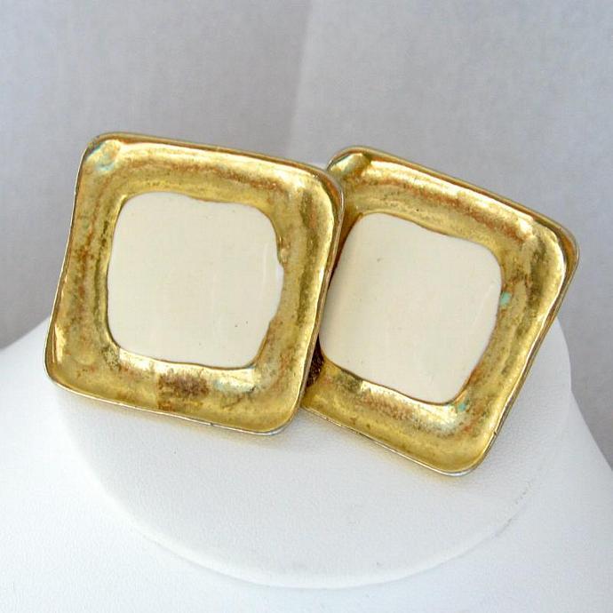 Golden Cream Enamel Clip Earrings Large Square 80s  - Signed FO Inc. - Designer