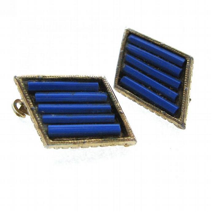 Rich Cobalt Blue Vintage Trapezoid Clip on Earrings Mimalist Modernist