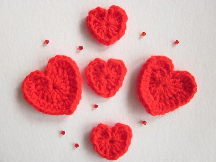 Handmade Crocheted Red Heart Appliqués, set of 5