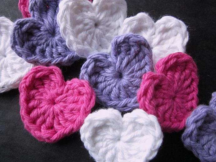 Handmade Crocheted Sweet Heart Appliqués