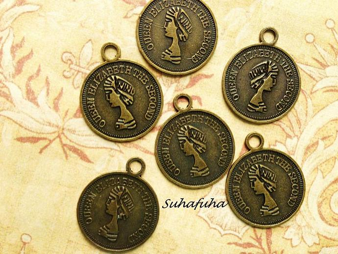 6 Antiqued Bronze Coin Filigree Findings 19mm - #F-20