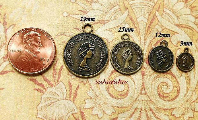 6 Antiqued Bronze Coin Filigree Findings 15mm - #F-20