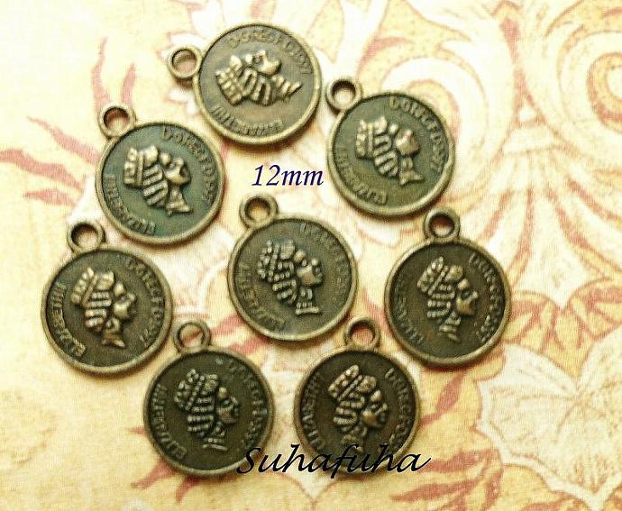 8 Antiqued Bronze Coin Filigree Findings 12 mm - #F-21
