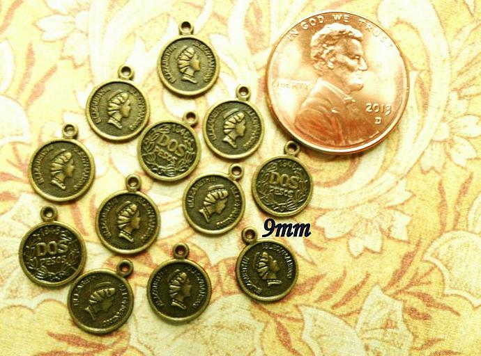 12 Antiqued Bronze Coin Filigree Findings 9mm - #F-22
