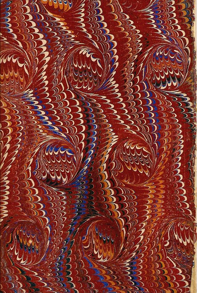 Turkish Marbled, Matched and Hand Pulled End Papers 1847 Victorian Antique Paper