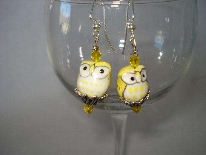 Yellow Owl Earrings - Swarovski Crystal and Hand-painted Porcelain Earrings