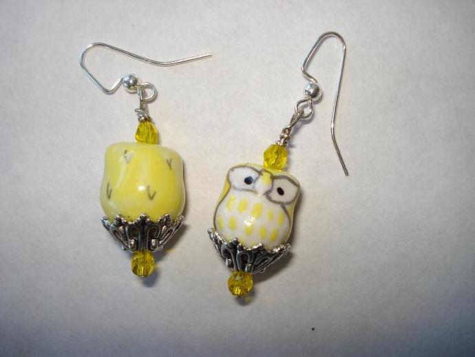 Yellow Owl Earrings - Swarovski Crystal and Hand-painted Porcelain Earrings