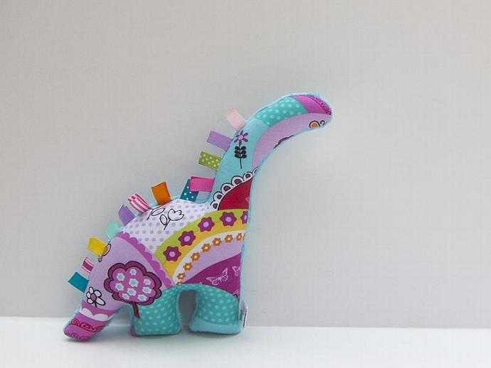 Plush Dinosaur - Minky Stuffed Animal - Handmade Baby Girl Toy - Turquoise Pink