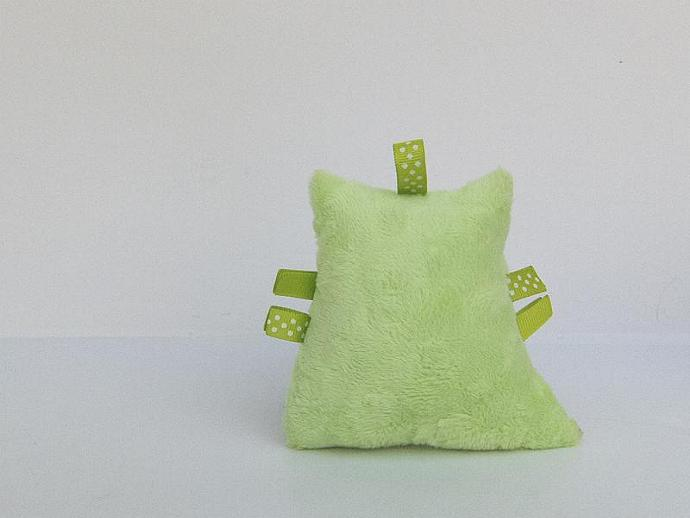 Polka Dot Plush Owl Rattle Lime Green White Softie Baby Toy Minky