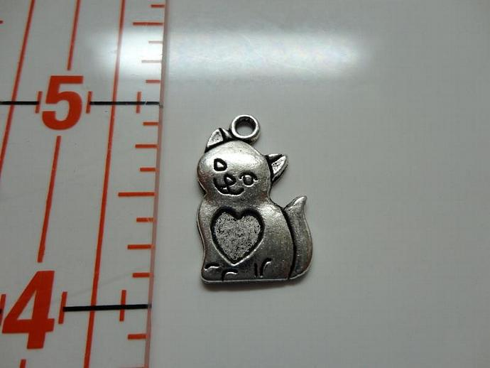 Cat with Heart Charm - Silver