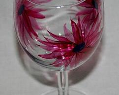 Hand Painted Wineglass Flowers
