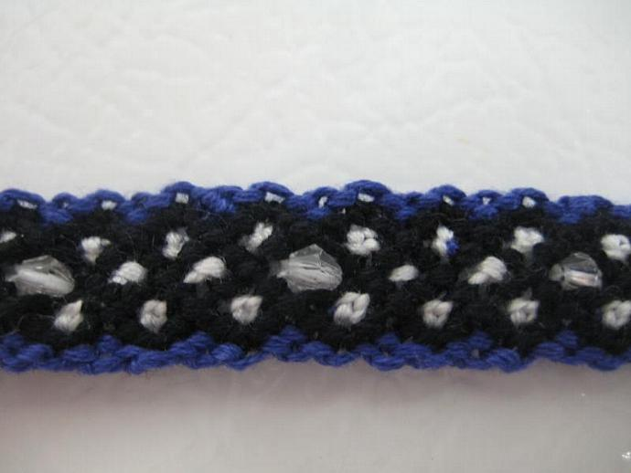 Beaded Polka Dot X-Pattern Micro Macrame Friendship Bracelet In Royal Blue,