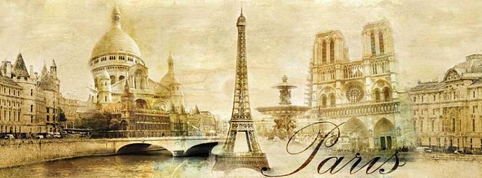 PANORAMIC MURAL STICKER Paris vintage classic gold autumn wallpaper decole