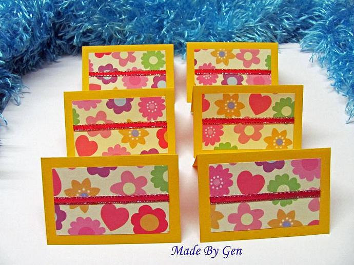 Flowered Mini Note Cards 2x2 (6cards)