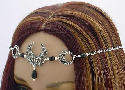 CUSTOM color TRIPLE Moon Lunar Goddess CIRCLET diadem Crown
