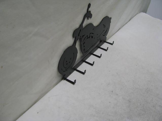 Motorcycle 6 Hook Key Holder V-Rod Metal Wall Art Silhouette