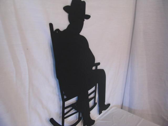 Oldtimer in Rocking Chair Metal Wall Art Silhouette