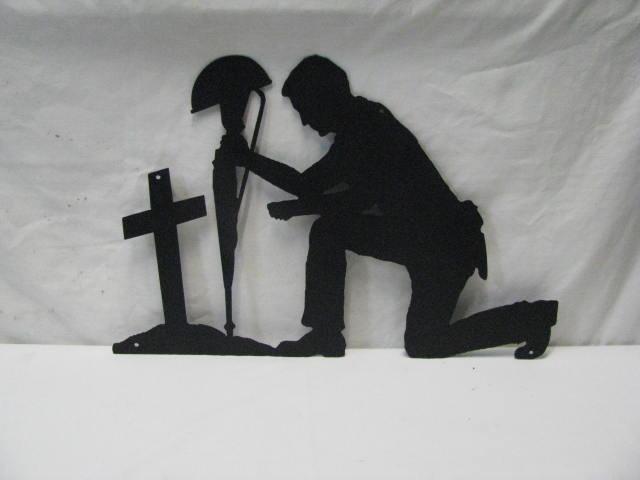 Soldier Praying Silhouette Metal Wall Yard Art