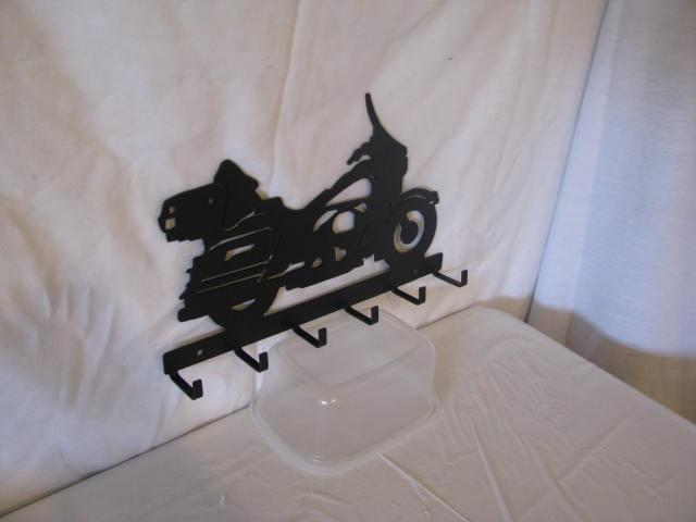 Motorcycle 3 Key Ring Holder Metal Wall Art Silhouette