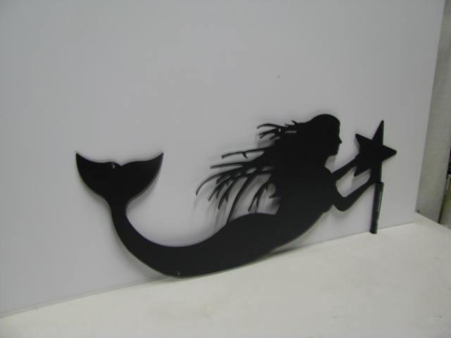Mermaid with Star Metal Wall Art Silhouette