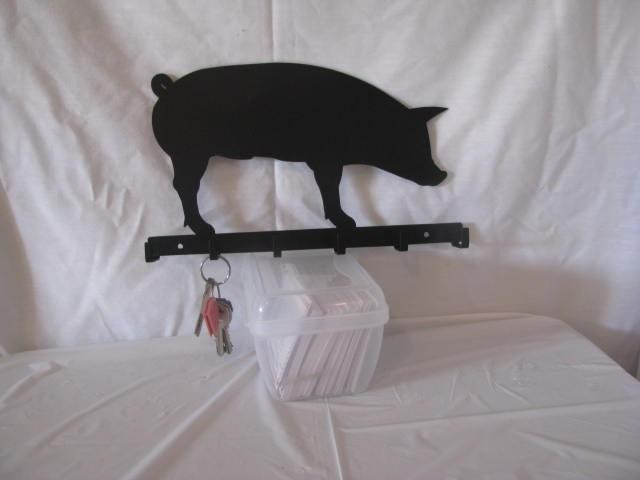 Hog Silhouette Key Holder Metal Wall Art Farm