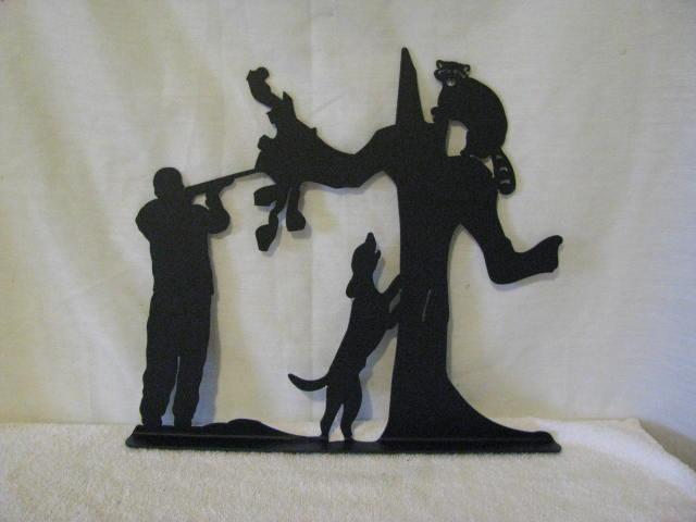 Dog Coon Hunter Mailbox Topper Metal Wildlife Art Silhouette