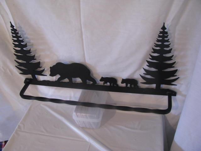 Bear 4 with Trees Towel Rack Metal Wall Art Wildlife Silhouette