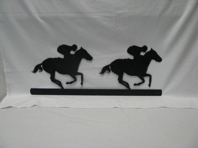 Thoroughbreds Racing Metal Wall Yard Horse Silhouette
