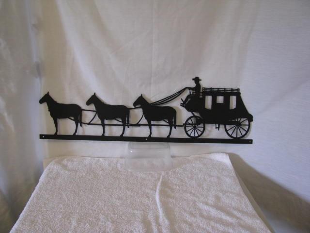 Stagecoach Horses Metal Western Wall Yard Barn Art Silhouette