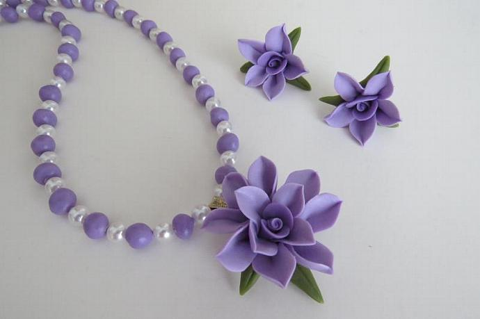 Lavender Cold Porcelain Necklace and Earring Set
