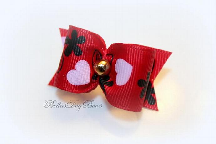 """7/8"""" Valentines Day Bow. Red Grosgrain with Golden Bead"""