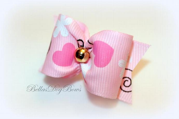 "1"" Valentines Day Bow. Pink Grosgrain with Golden Bead"