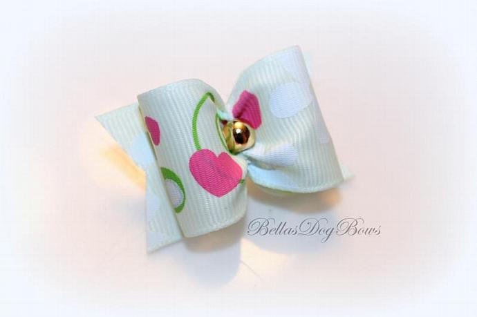 "1"" Valentines Day Bow. Lt. Green Grosgrain with Golden Bead"