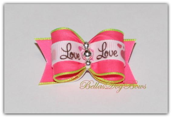 Pink & Lime Love Valentine's Day Bow with 3  Silver Beads
