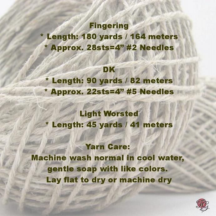 Premium Hemp Yarn for Knitting Crocheting Weaving Crafts , DK Weight, Eco