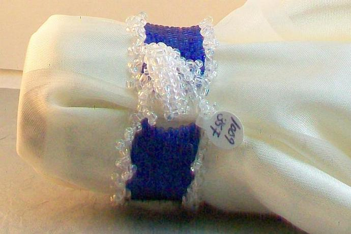 Royal Blue and Crystal AB Beadwork Bracelet
