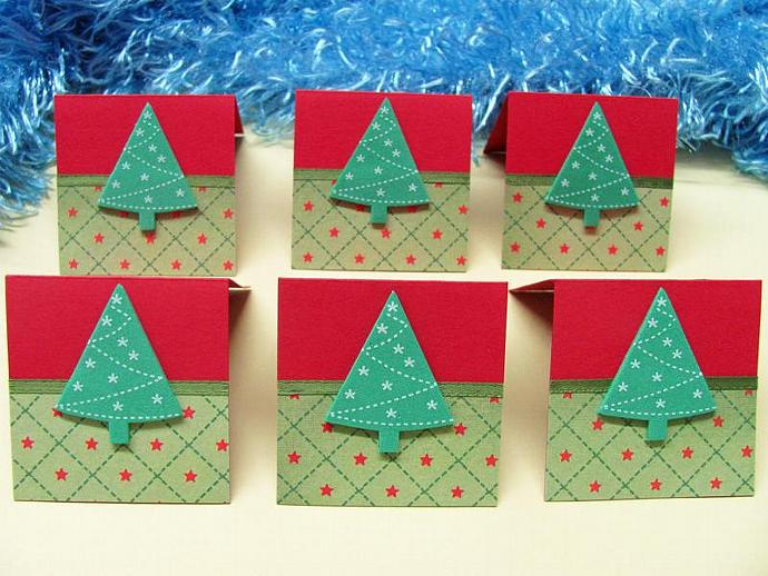 Christmas Tree Mini Christmas Cards 2x2 (6 cards)