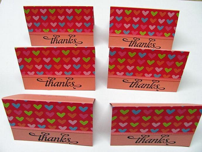 Heart Thanks Mini Cards 2x3 6 cards