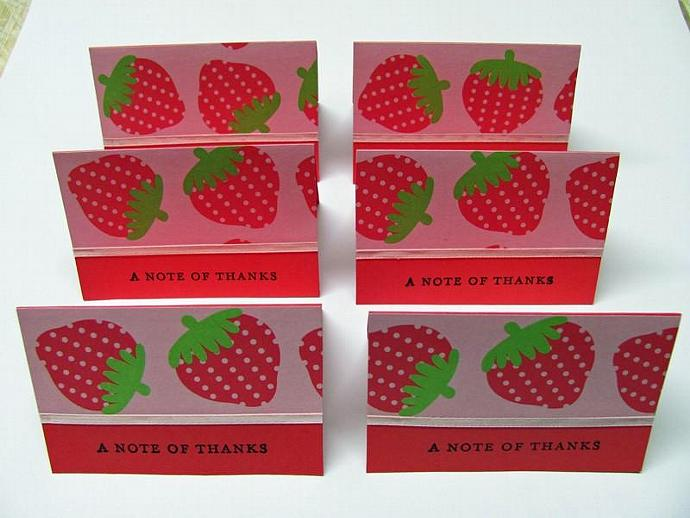 Strawberry A Note Of Thanks Mini Cards 2x3 (6cards)