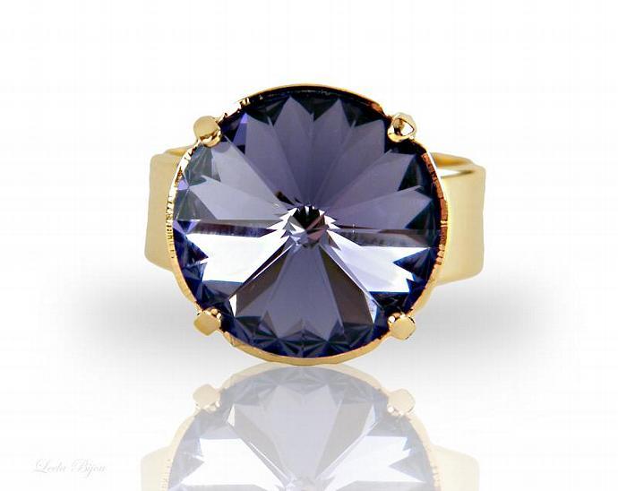 Empire Ring - Purple Swarovski Crystal Gold Plated