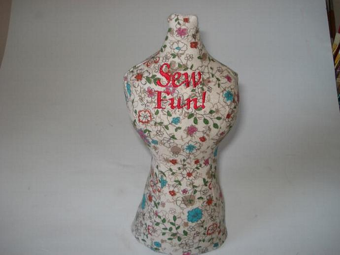 Mannequin, Dress Form Pincushion - Floral Flannel - Sew Fun!
