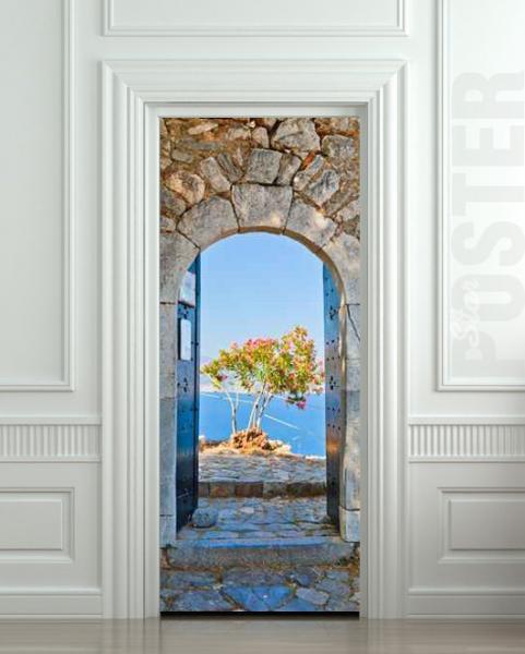 Door STICKER Greece health resort travel landscape mural decole film
